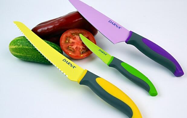 3 cuchillos esmaltados cerámicos