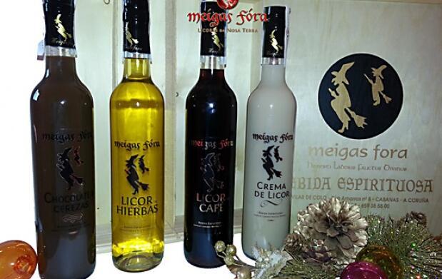 Caja 4 botellas del mejor licor gallego
