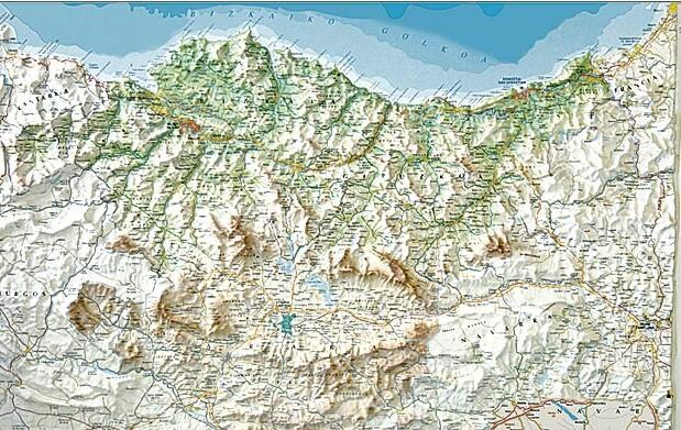 Mapa en relieve de Euskadi