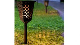 Antorcha solar LED con efecto llama para jardín exterior
