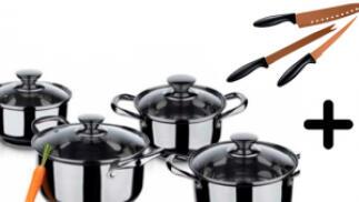 Batería de cocina de 8 piezas acero inoxidable ¡con cuchillos de cobre de regalo!