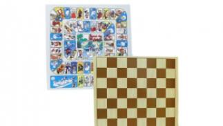 Tablero doble ajedrez-oca + juego de piezas de ajedrez