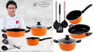 Set de cazo, cacerola y tartera con 3 utensilios de cocina colección Sunset de San Ignacio