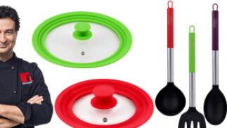Pack 2 tapas universales de cristal + 3 utensilios San Ignacio