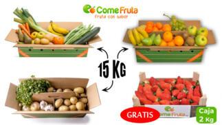 Caja 15 kg frutas y verduras + 2kg de fresón de Huelva de regalo