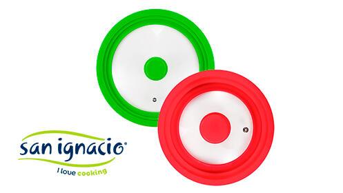 Pack 2 tapas universales de vidrio en color rojo y verde