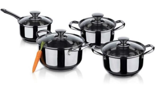 Batería de cocina de 8 piezas acero inoxidable